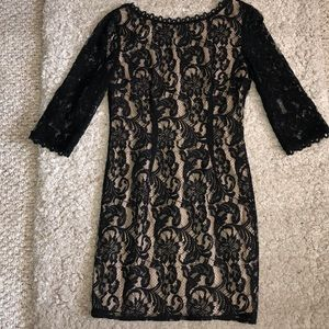Black lace banquet dress